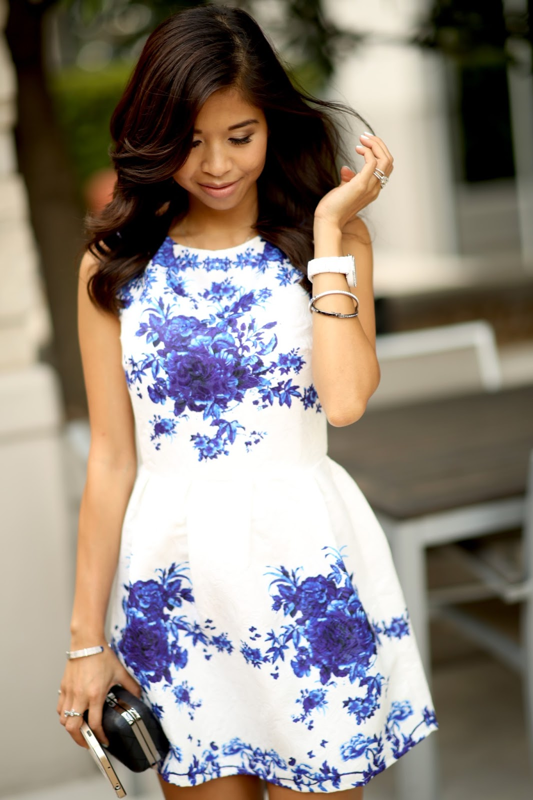 dreamy blue and white porcelain spring summer dress
