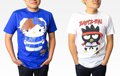 Street Fighter x Sanrio T-Shirt Collection - Hello Kitty as Chun-Li & Badtz-Maru as Ryu