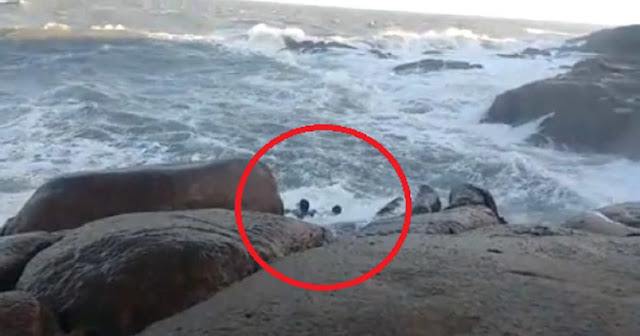 Shocking Story! This Couple Posing for a Photo Died After Hitting the Rocks When Huge Wave Slammed!