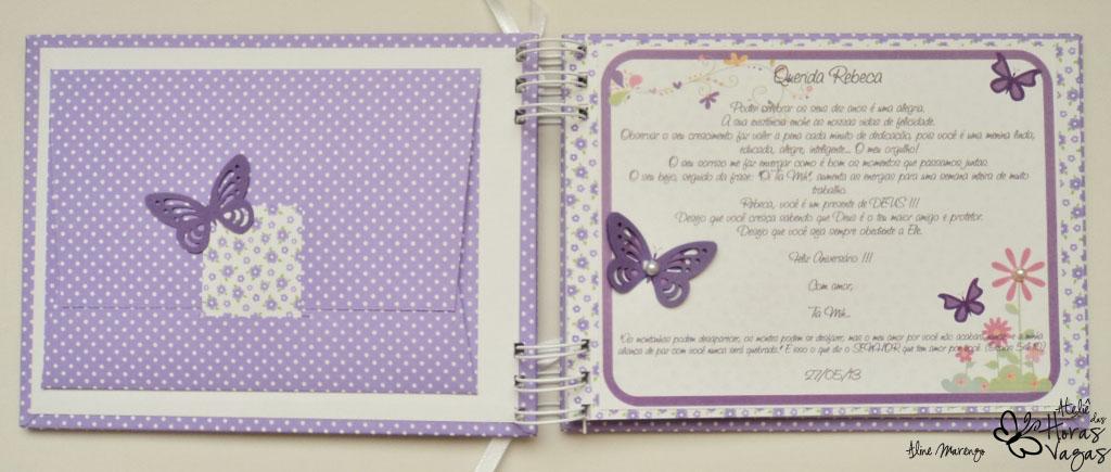 álbum livro de mensagens personalizado aniversário 10 anos jardim encantado lilás floral borboletas roxo infantil
