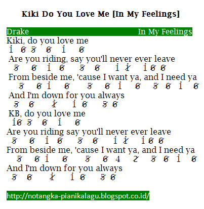 Not Angka Pianika Lagu Kiki Do You Love Me (In My Feelings) Drake