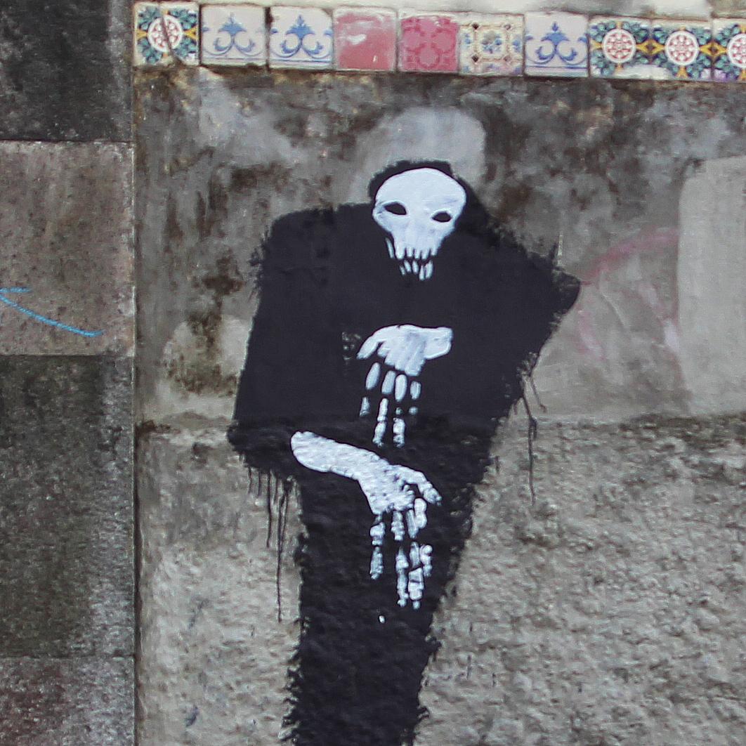 Street Art Berriblue Graffiti Death Painting Grim Reaper