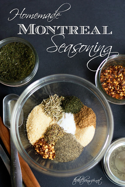 The herbs and spices used to make the homemade montreal seasoning blend in a moving bowl with the title above.