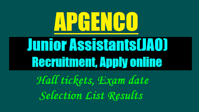 apgenco trainee junior assistants(ja) recruitment 2017,apgenco ja recruitment online application form,apgenco ja recruitment 2017 hall tickets results selection list results