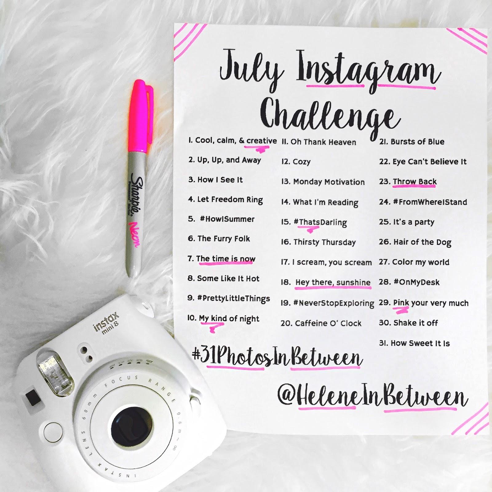 july instagram challenge