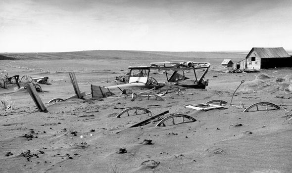 Machinery buried in dust bowl