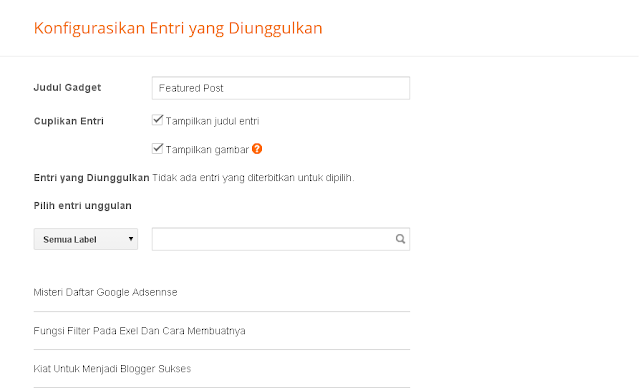 Featured Post Widget Baru Dari Blogger