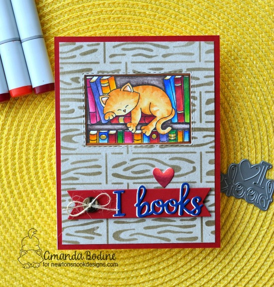 I Love Books Card with cat by Amanda Bodine | Newton's Book Club Stamp Set, Frames & Flags Die Set and Hardwood Stencil by Newton's Nook Designs #newtonsnook #handmade