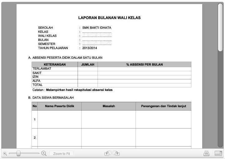 Contoh Format Laporan Wali Kelas Kepada Kepala Sekolah Smp Mts Administrasi Guru Smp Dan Mts