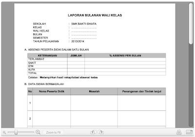 Download Format Laporan Wali Kelas SD, SMP, SMA Docx