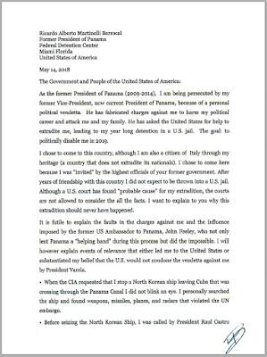 Traducción de la carta completa del expresidente Martinelli.
