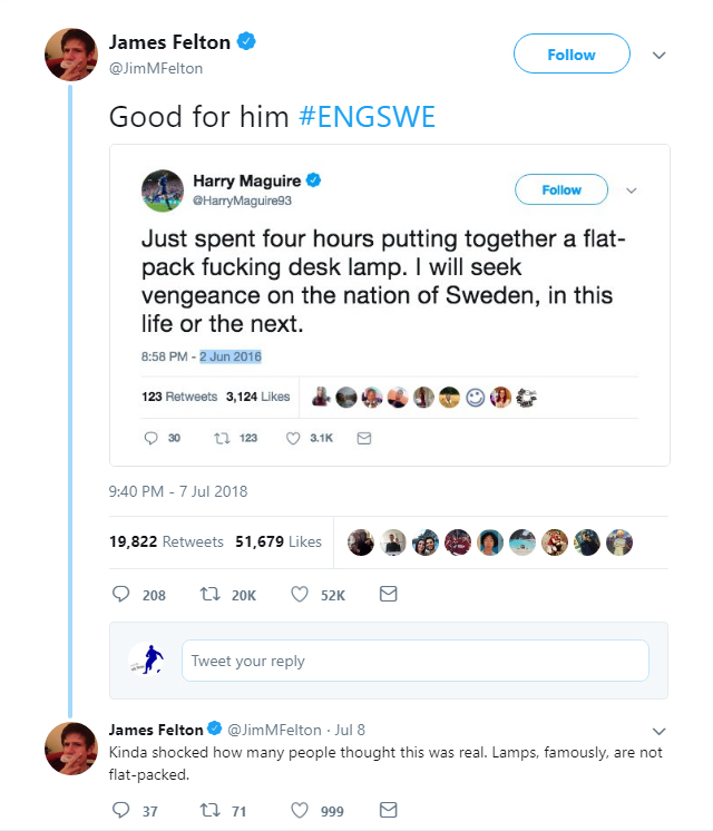 Comedian James Felton surprised that many people thought the tweet was real