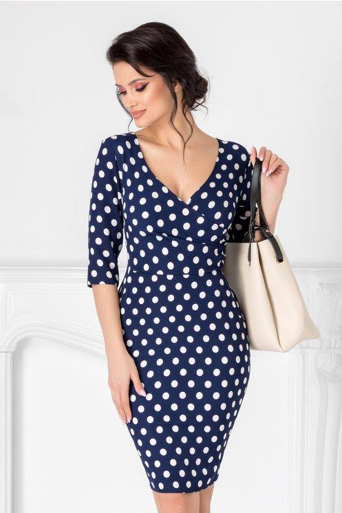 rochie bleumarin de zi  imprimeu cu buline  decolteu petrecut  buzunare false  croi conic