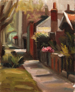 Oil painting of a footpath lined with houses with front fences and gardens.