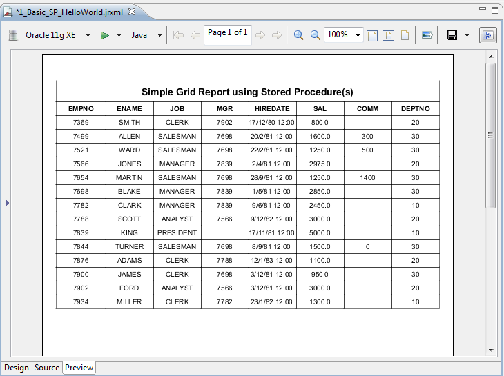 Simple Grid Report Example using Basic Oracle Stored