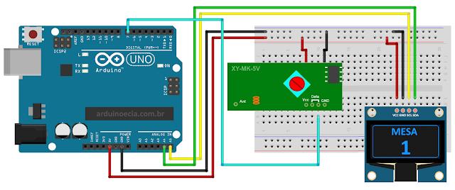 Circuito Arduino com modulo RF 433 MHz Receptor