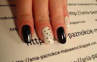 biało-czarne wzorki na paznokcie