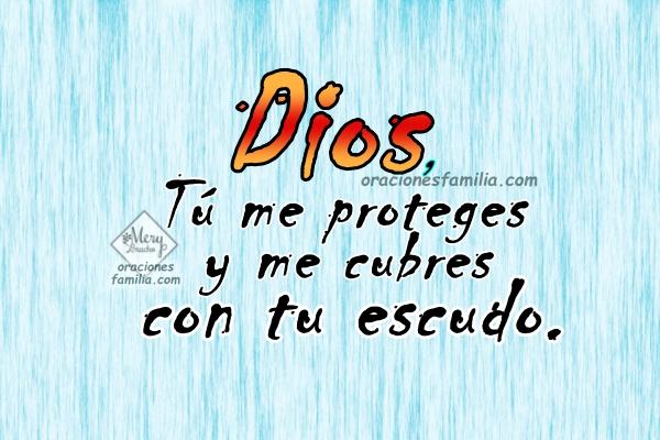 Oración de la mañana, Oración por protección en este día. Frases cristianas con el Salmo 5. Imágenes con oraciones cristianas por Mery Bracho, Dios me cuida, me libra de los malos.