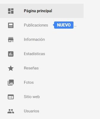 Menu Nuevas Publicaciones en Google my Business