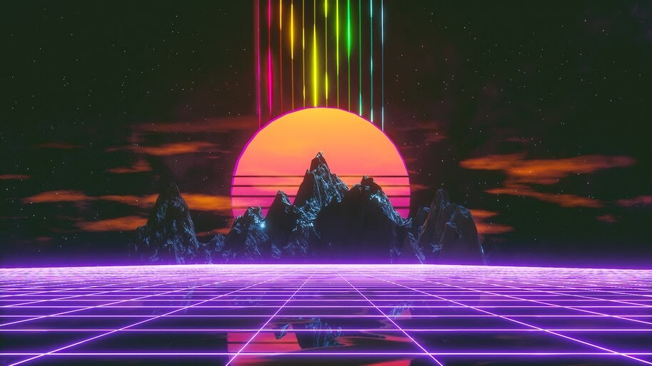 Retrowave, Synthwave, Grid, Mountain, Landscape, 4K, #6.1277