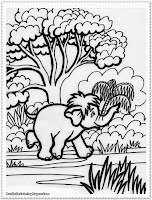 baby elephant jungle animal coloring pages