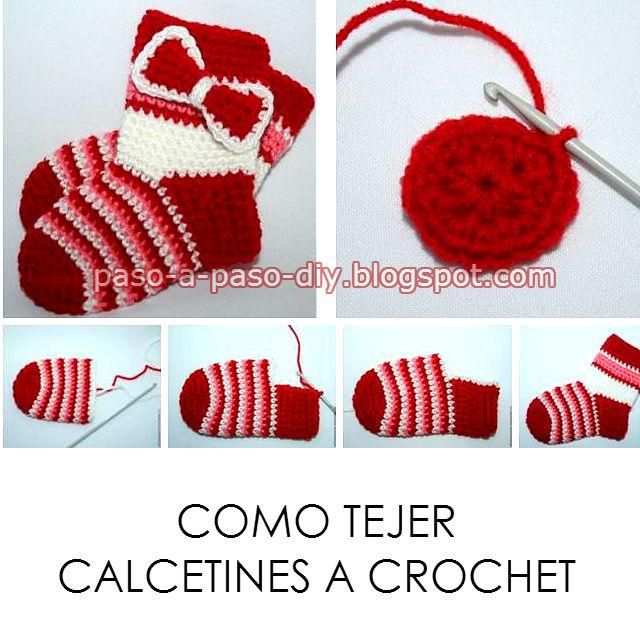 tutorial en fotos de como tejer medias con crochet