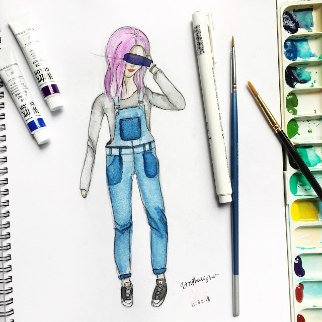 girl with purple hair in overalls watercolor fashion illustration