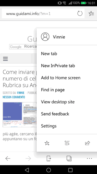 Microsoft Edge Android menu contestuale