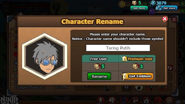 Cara Mengubah Nama Karakter Ninja Saga, Name Change License