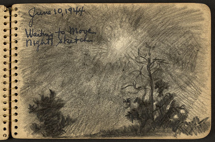 21-Year-Old WWII Soldier's Sketchbooks Show War Through The Eyes Of An Architect - Silhouettes Of Trees In The Moonlight Drawn While Stationed At Fort Jackson, South Carolina