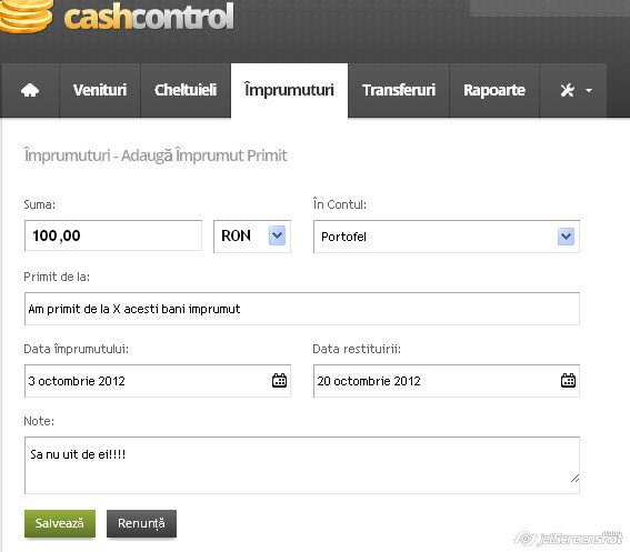cash control, adaugarea unui imprumut primit