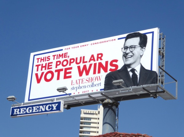 This time popular vote wins Stephen Colbert Emmy billboard
