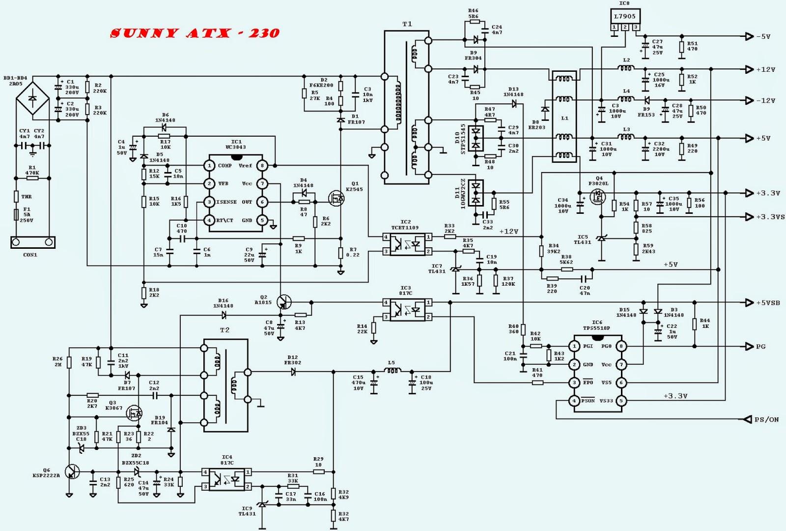 DESKTOP ATX POWER SUPPLY SCHEMATICS  UTIEK ATX600T