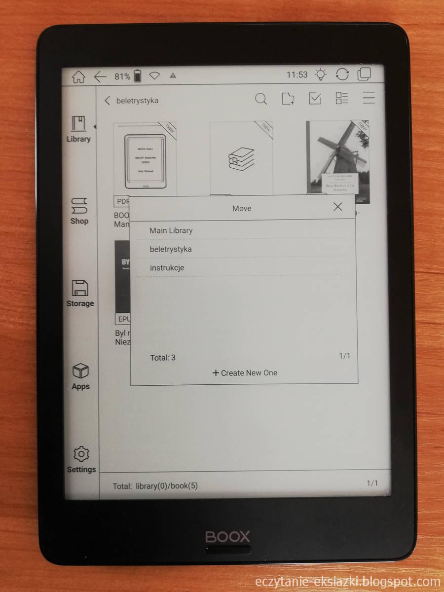 Biblioteka w Onyx Boox Nova – dodawanie e-booka do kolekcji