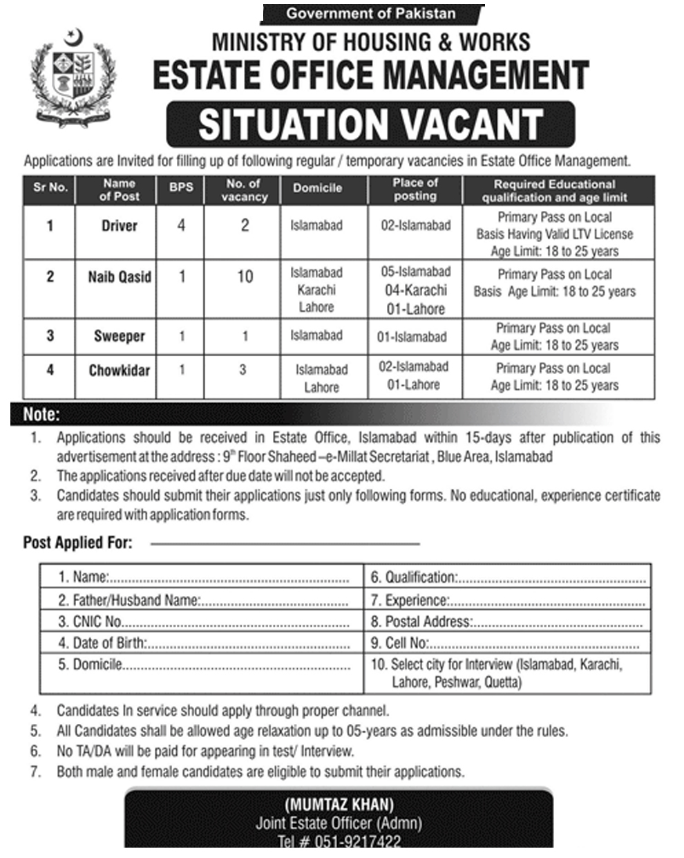 Ministry Of Housing And Works Govt Of Pakistan New Jobs 2019