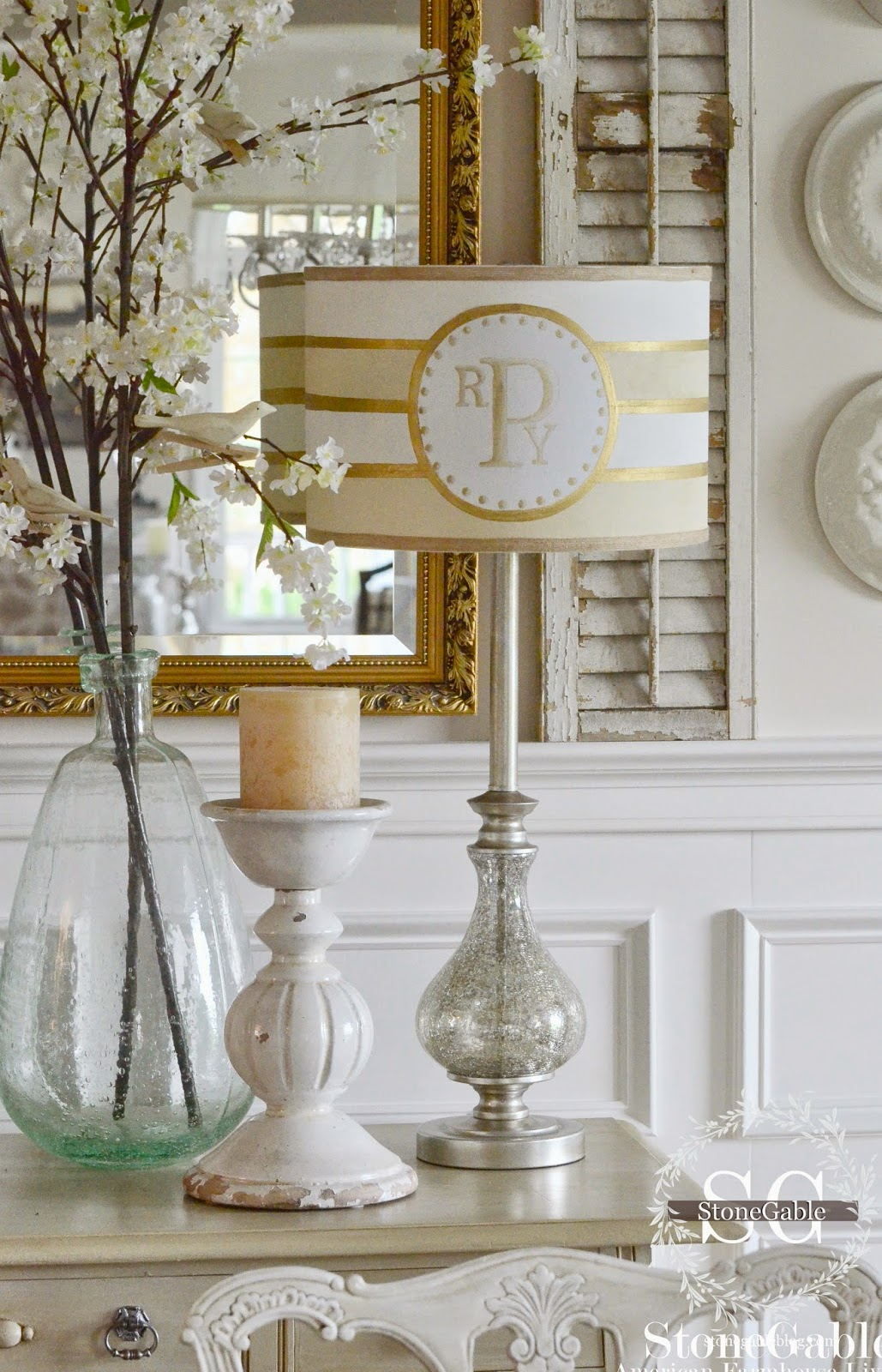 How to paint a monogrammed lampshade stonegable how to paint a monogrammed lampshade mozeypictures Images