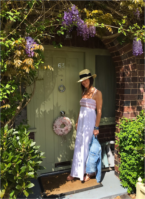 My Midlife Fashion, Hush Homewear Mandalay maxi dress, h and m straw panama hat, zara denim jacket, lotus shoes sparkly flats