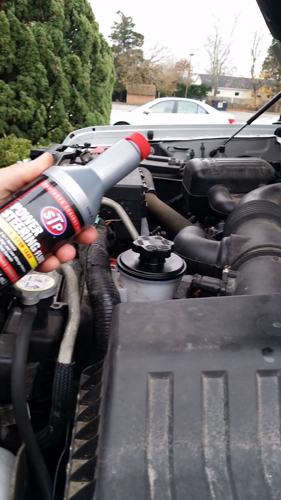 firs thing i did was check the power steering oil level the bottle is located on the driver side behind the radiator  [ 900 x 1600 Pixel ]