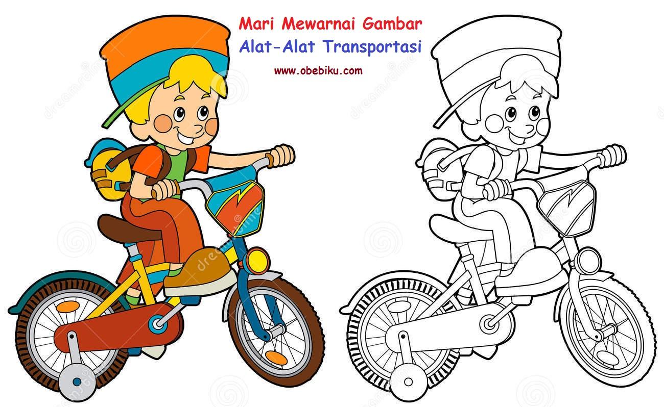 Contoh Gambar Mewarnai Anak Naik Sepeda - KataUcap