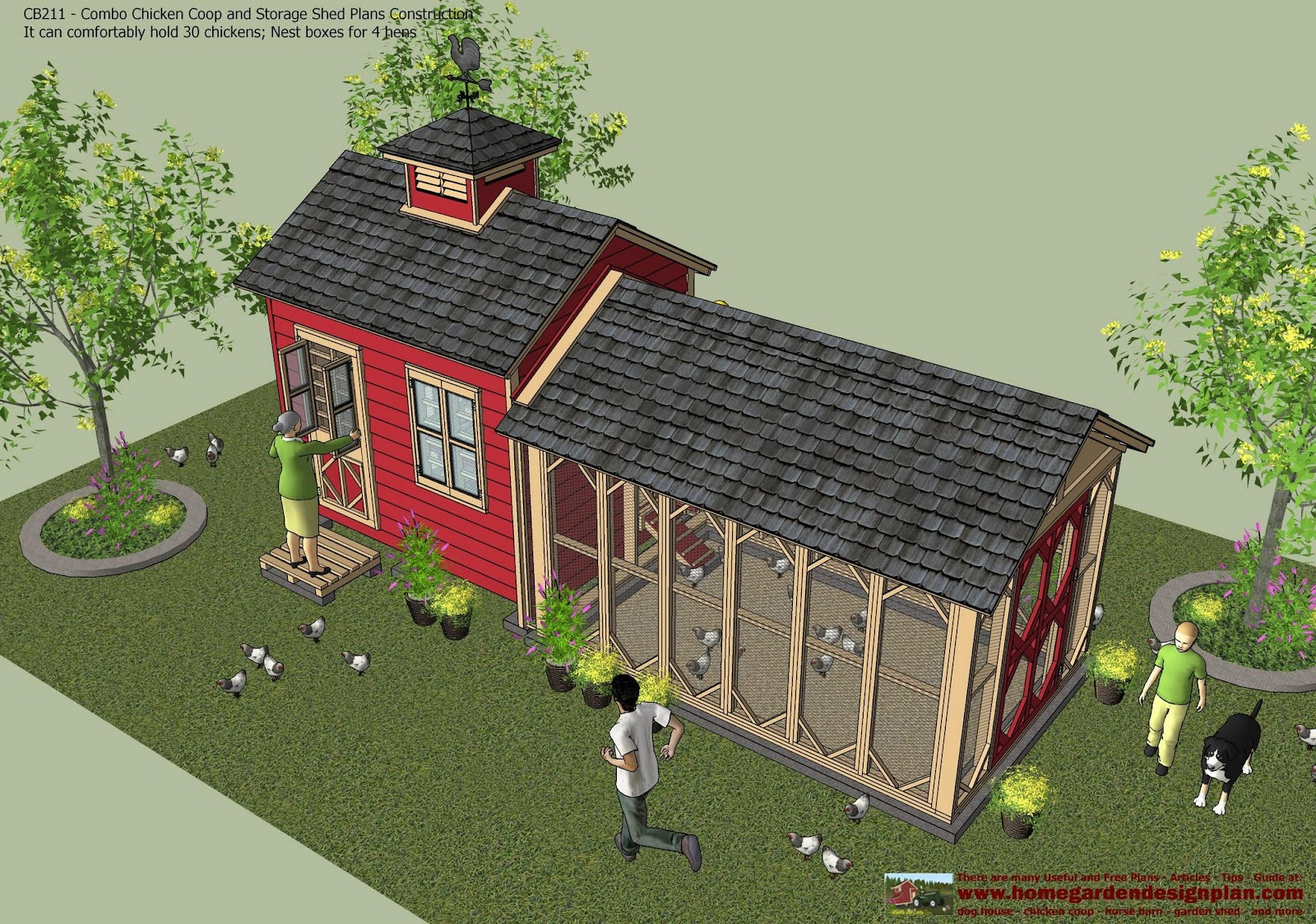 Home Garden Plans Cb211 Combo Chicken Coop Garden Shed