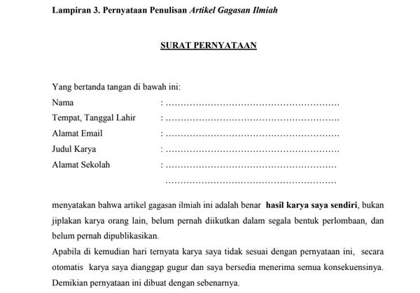 Surat Pernyataan Penulisan Artikel Gagasan Ilmiah OGN 2019