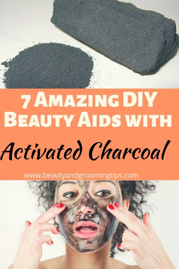 activated charcoal powder & woman with activated charcoal face mask