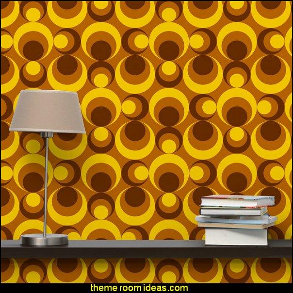 Retro Wallpaper - 70s Circle Wallpaper yellow brown - Mural Square wallpaper wall mural