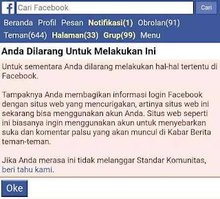 Akun pemakai autolike facebook diberi peringatan