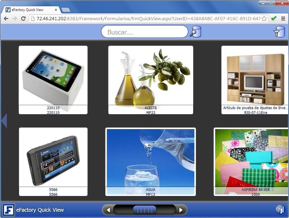Quick View: Pantalla Principal - Productos Web de eFactory para Móviles y Tabletas