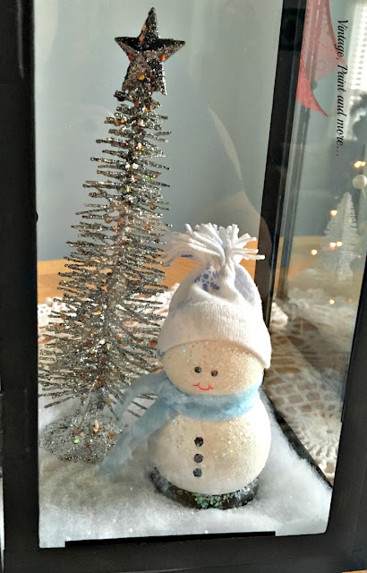 diy snowman and dollar store silver tree vignette in lantern