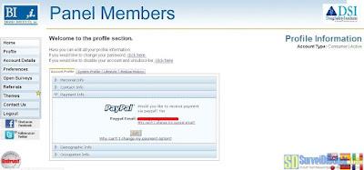Memilih pembayaran via PayPal di dasbor akun Brand Institute | SurveiDibayar.com