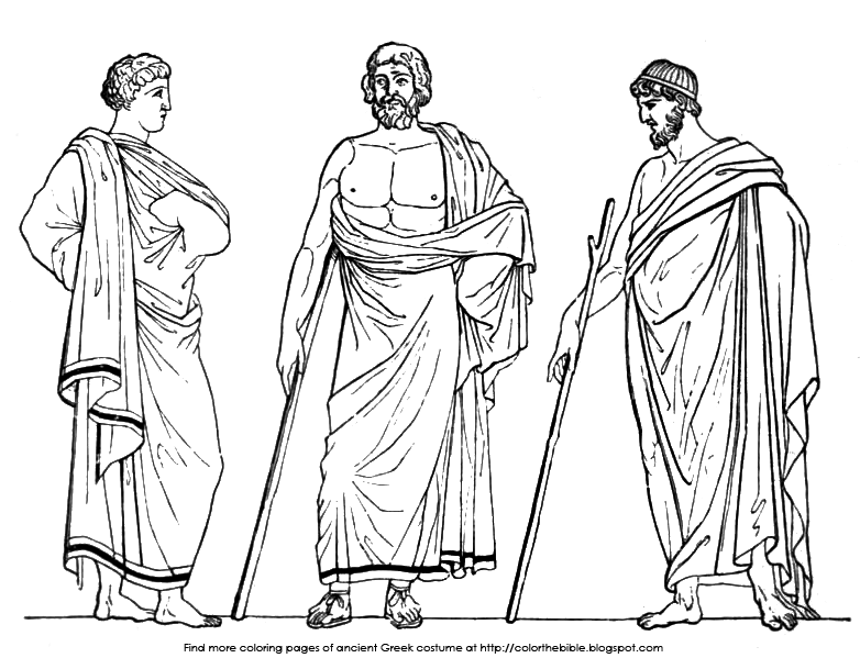 ancient greek clothing coloring pages | Coloring pages of Greek Male Costume | Color The Bible