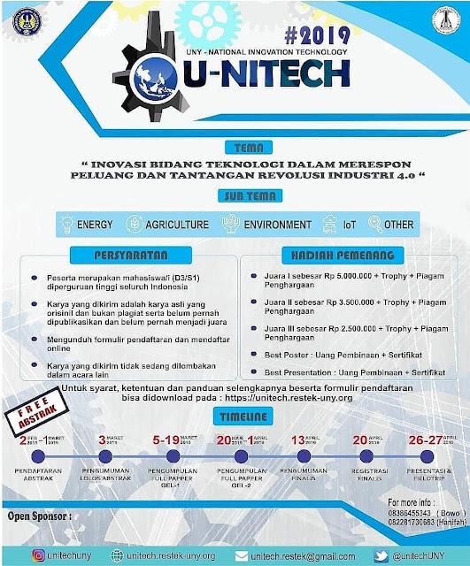 Lomba Inovasi Teknologi Nasional U-NITECH 2019 Mahasiswa