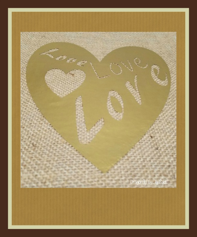Graphic image of Love Love Love Burlap Art Framed.